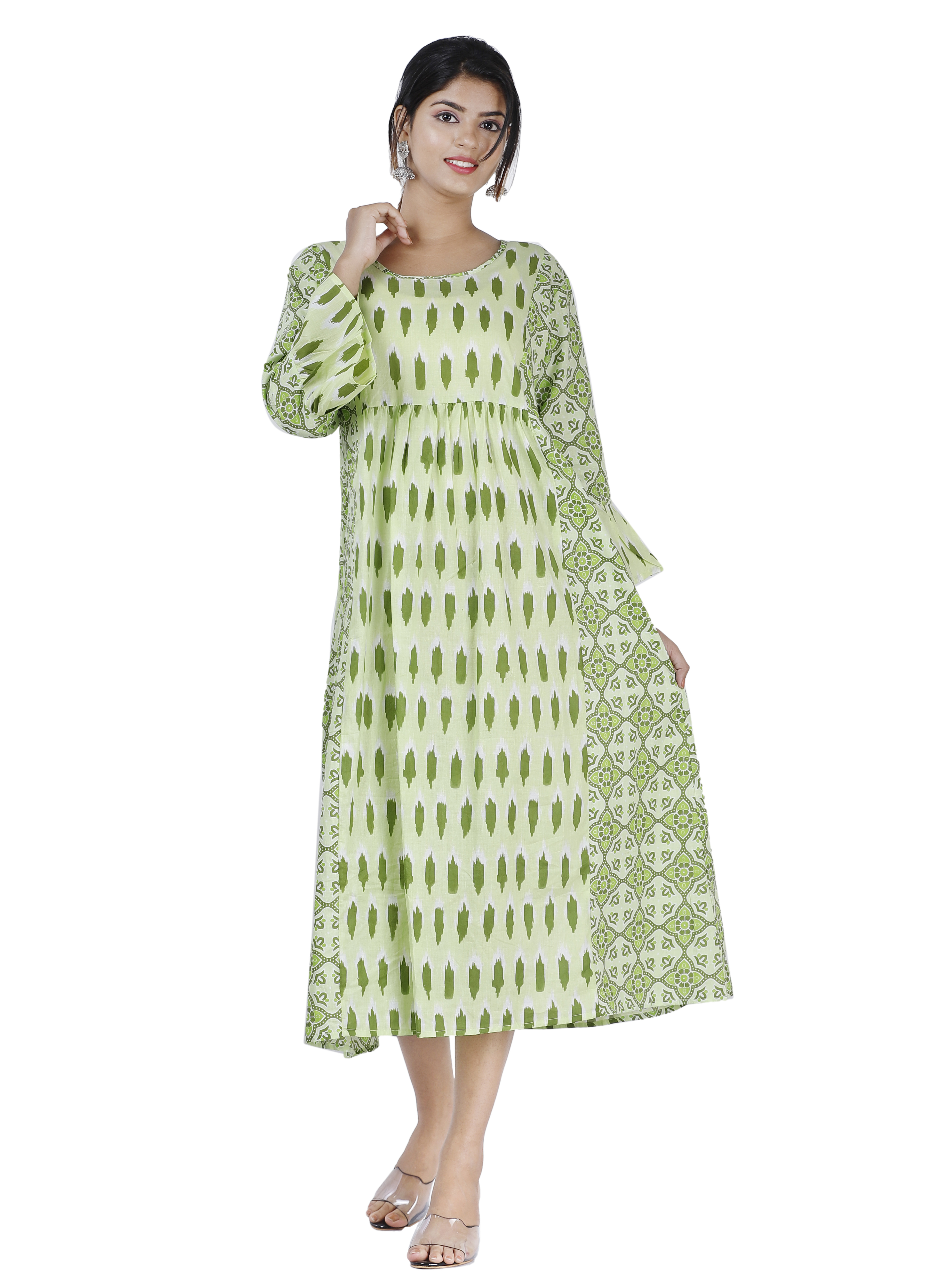 Maya Women Ethnic Wear Cotton 3/4 Sleeve Kurta Small Size Flared Sleeve A-line Kurta (Green)