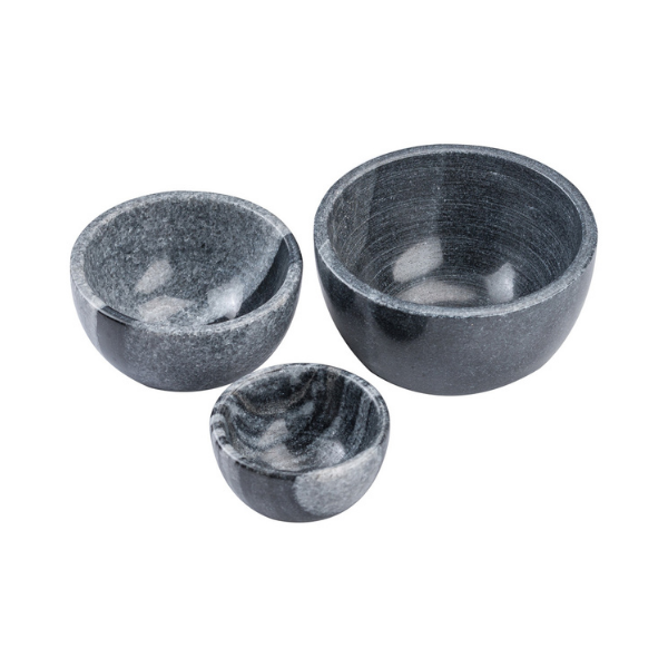 Marble Bowl Black Set of Three   ( 13x7 - 10x6 - 8x4 )