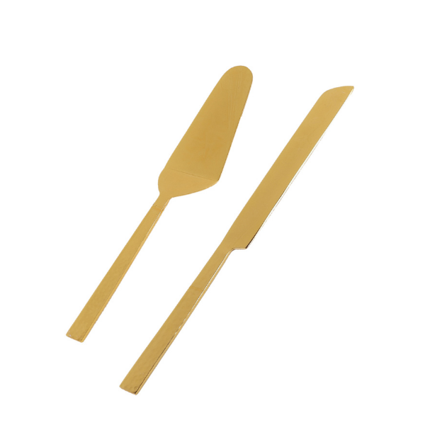 Marble Cake Knife and Server (Gold colour)
