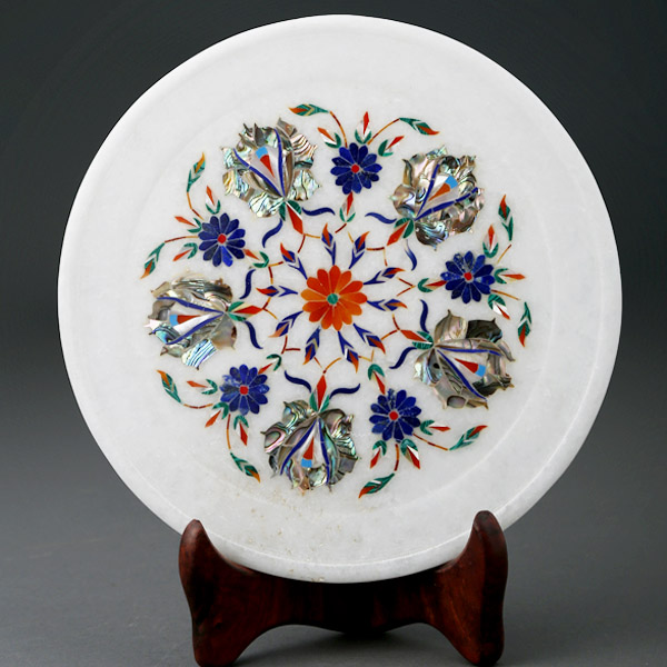Marble Inlay Decorative Plate- 9 Inch Diameter