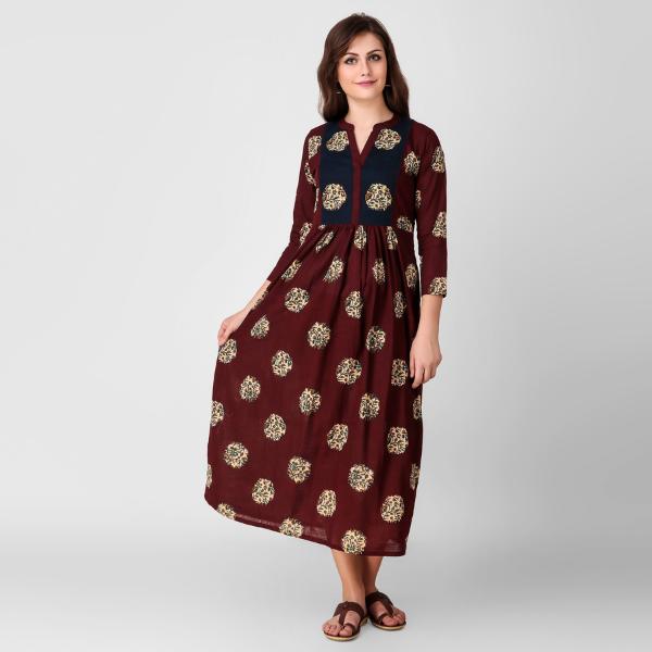 Maroon Kalamkari Cotton Dress with Gathers