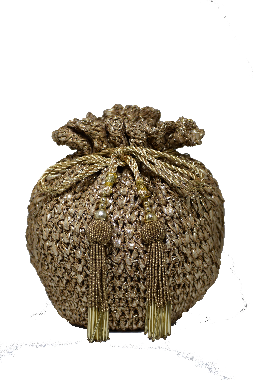 Mat Gold Crochet Potli