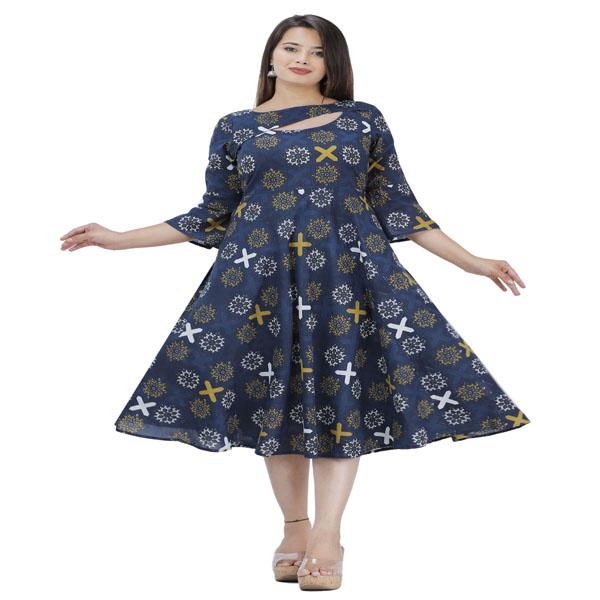 Maya Cotton Flared 3/4 Sleeve Kurta X Large Women Kurti Ethnic Wear Size (Navy Blue)