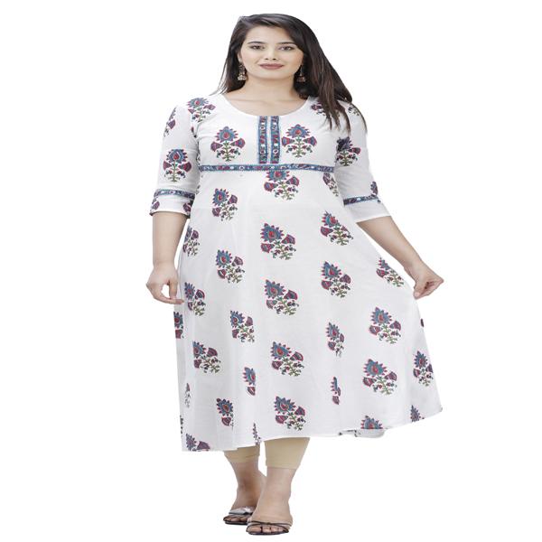 Maya Floral Printed Ladies Kurti Dress A-Line Printed Regular Casual Kurta Cotton White & Multi