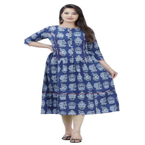 Maya Ladies Kurti Casual Wear Cotton Printed Regular Formal Dress A-Line Kurta (Blue & White)