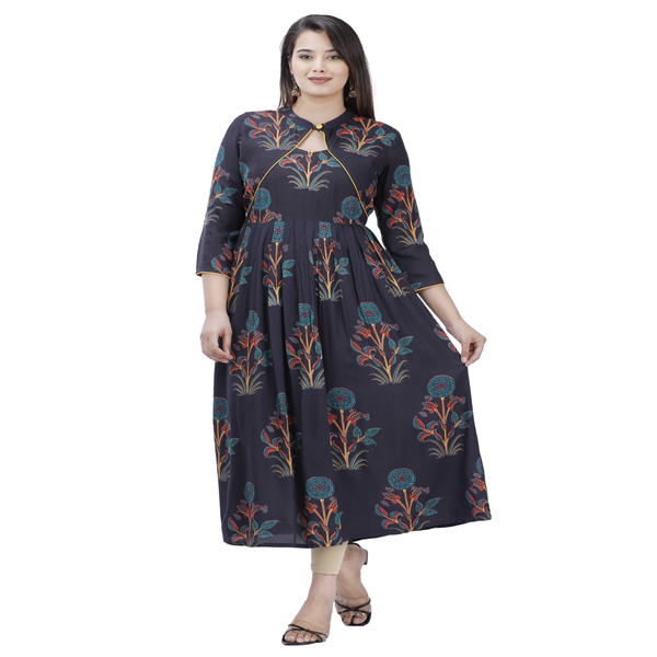 Maya Women Cotton Kurti Festive 3/4 Sleeve Medium Dress Neck Style Round Party (Black & Multi)