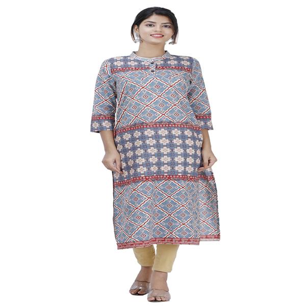 Maya Women Ethnic Wear Cotton Kurta Straight 3/4 Sleeve Formal Kurta Multi