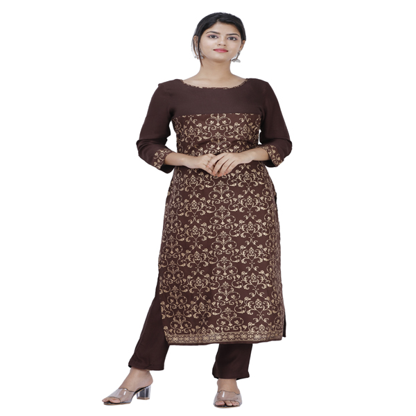 Maya Women Ethnic Wear Kurta Pant Set 3/4 Sleeve Large Size Rayon Printed (Brown & Gold)