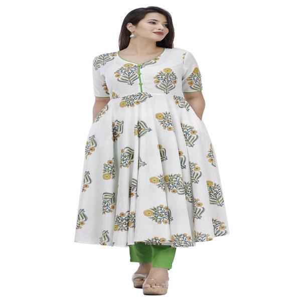 Maya Women Festive Dress Kurti Set Neck Style Round Party Short Sleeve (Off-White & Green)