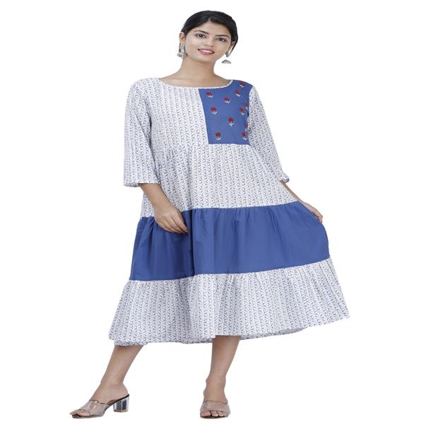 Maya Women Kurta Embroidered with Gadder Dress Ethnic Wear 3/4 Sleeve (White & Blue)