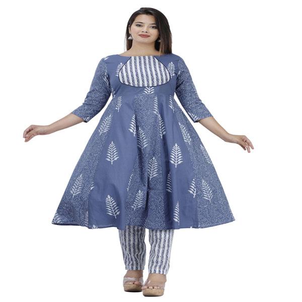 Maya Women Wear Kurta Set Dress Neck Style Round 3/4 Sleeve White & Blue