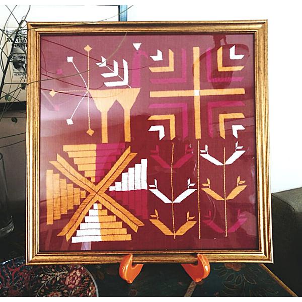 Nabha Phulkari  hand embroidered Wall hanging with phulkari motifs