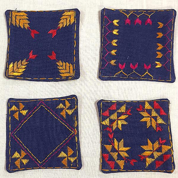 Nabha Phulkari  hand embroidered coasters with phulkari motifs