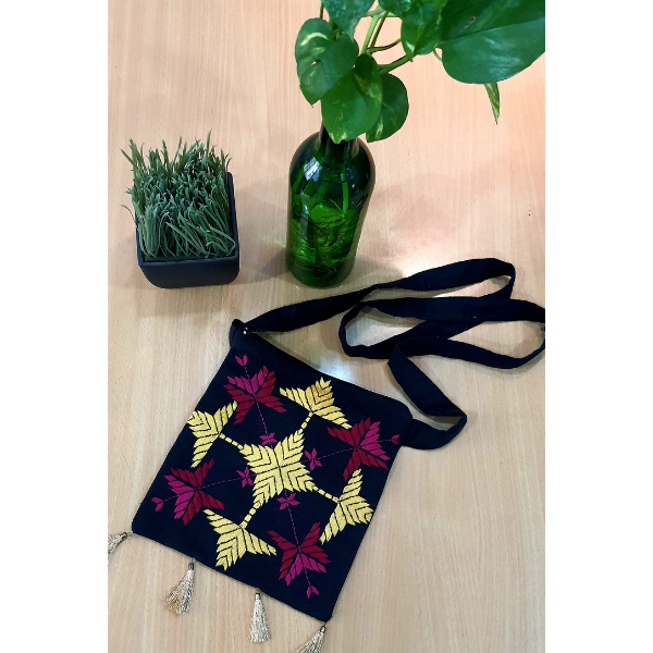 Nabha Phulkari  hand embroidered handbag with phulkari motifs
