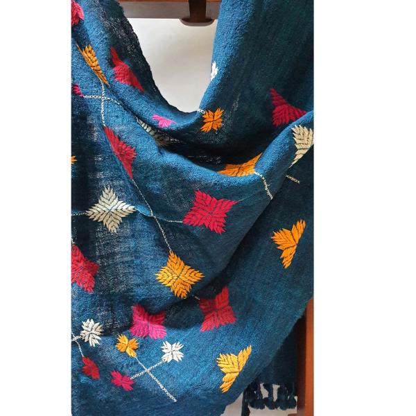 Nabha Phulkari Indigo stole hand embroidered with phulkari motifs