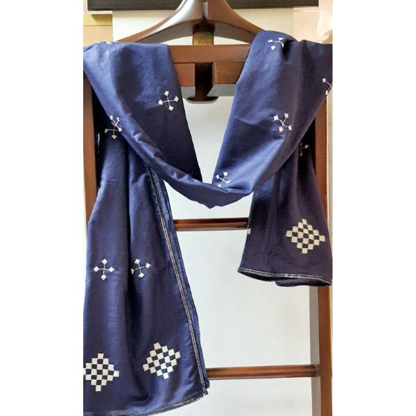 Nabha Phulkari hand embroidered Indigo silk with white motifs stole