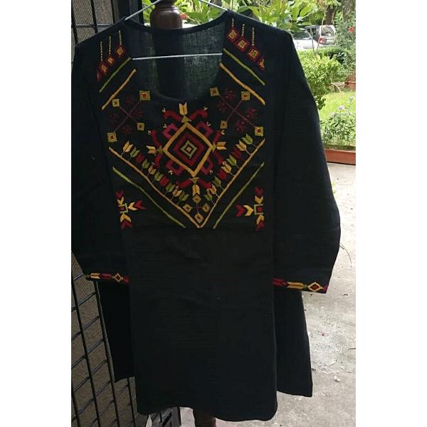 Nabha Phulkari hand embroidered black cotton kurta