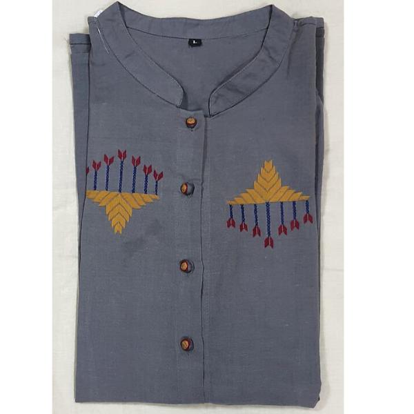 Nabha Phulkari hand embroidered grey shirt
