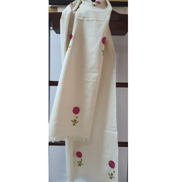 Nabha Phulkari hand embroidered offwhite cotton stole with amrit motifs