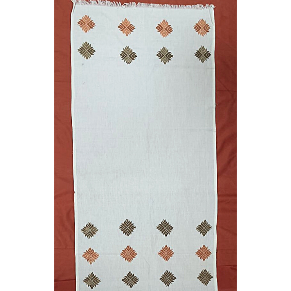Nabha Phulkari hand embroidered offwhite cotton stole with peach and biege motif