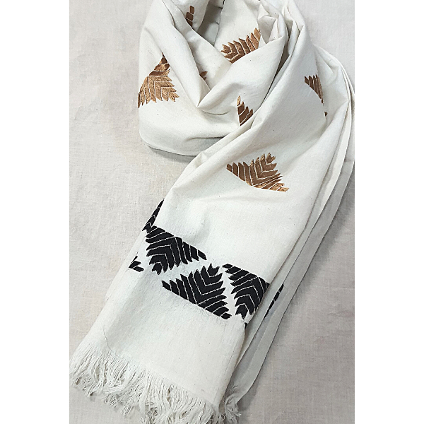 Nabha Phulkari handembroidered offwhite cotton stole with half motifs in black and gold colour threads.