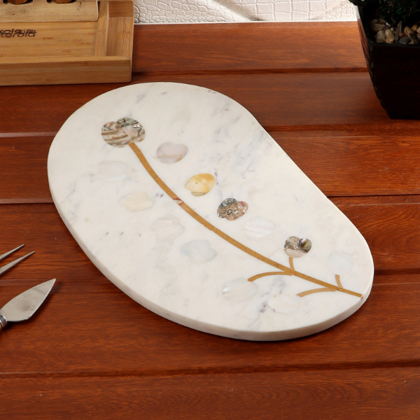 Nikkis Pride Chesse Platter Oval MOP and Abalone Inlay