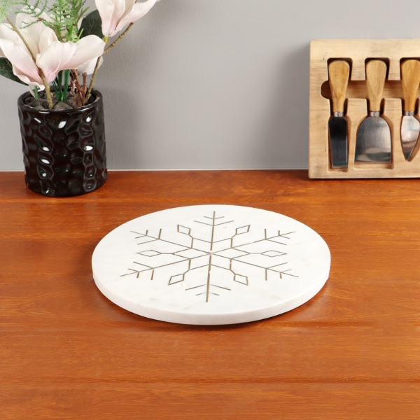 Nikkis Pride Marble Platter Round White Color with Metal Snowflake Inlay