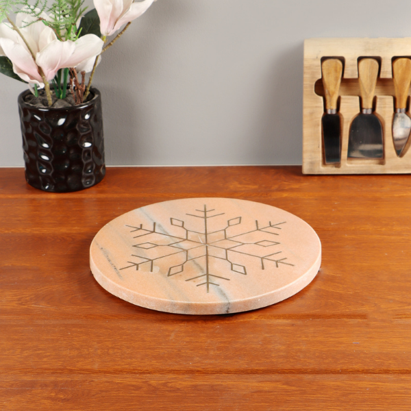 Nikki's Pride Marble Platter Round Red Color with Metal Snowflake Inlay