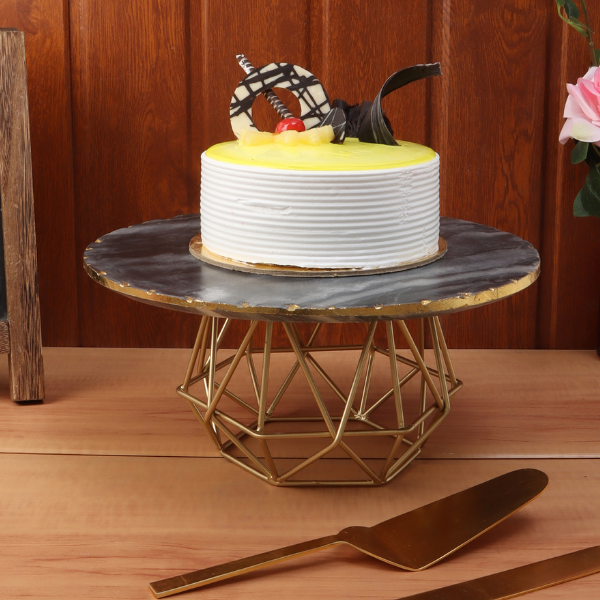 NikkisPride  Cake Stand With Gold Finish Metal Base Black  Hexagon Marble Top with Cake Cutlery Set of 3