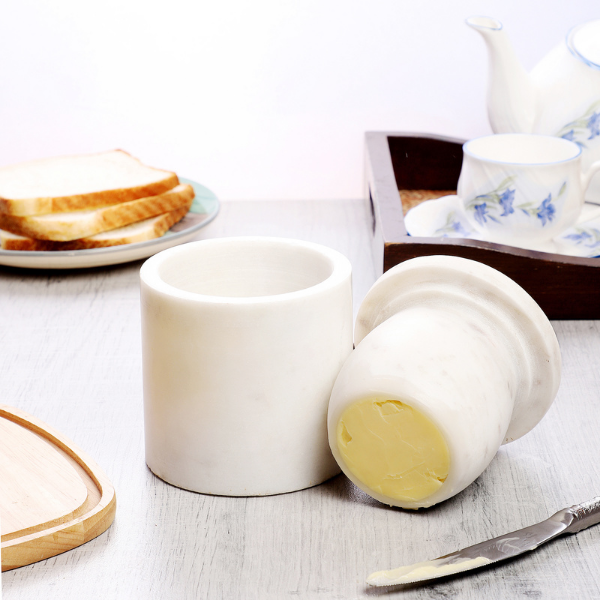 NikkisPride  Marble Butter Keeper White