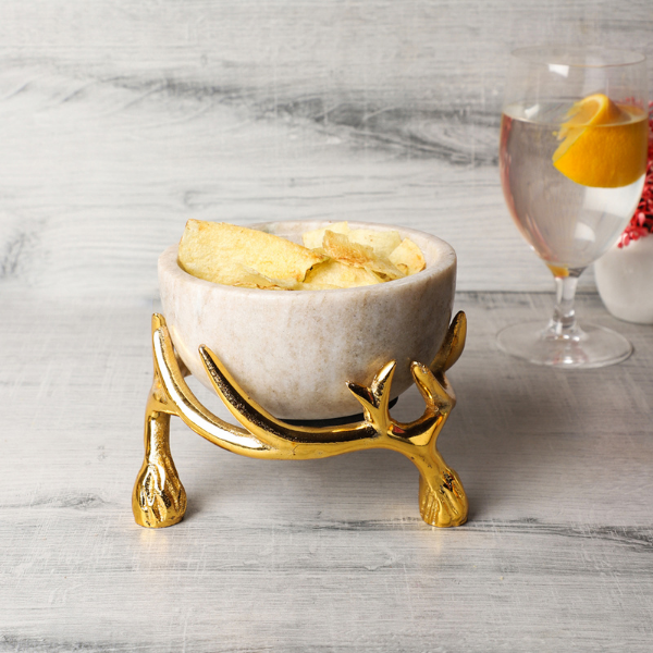 NikkisPride Beige  Marble 5 inch bowl with gold antler  stand