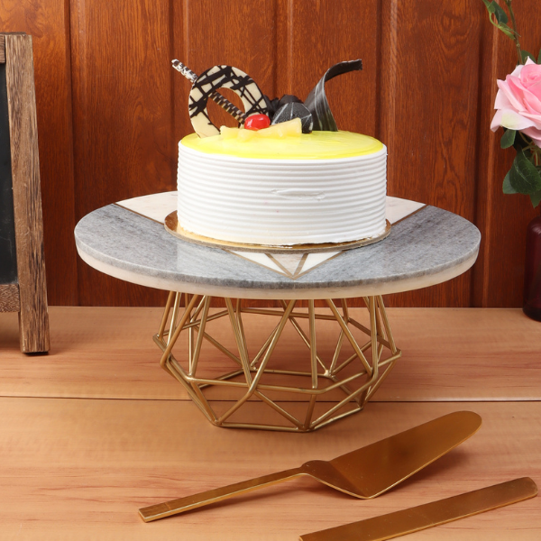 NikkisPride Cake Stand With Gold Finish Metal Base Tri-Color Marble Top with Cake Cutlery Set of 3