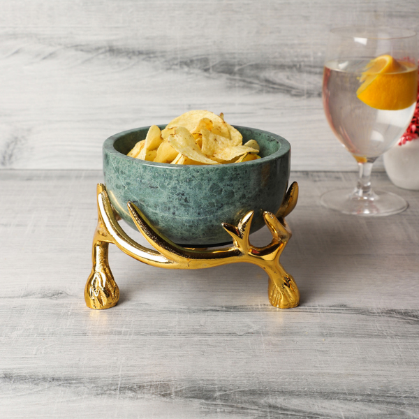 NikkisPride Green Marble 5 inch bowl with gold antler  stand