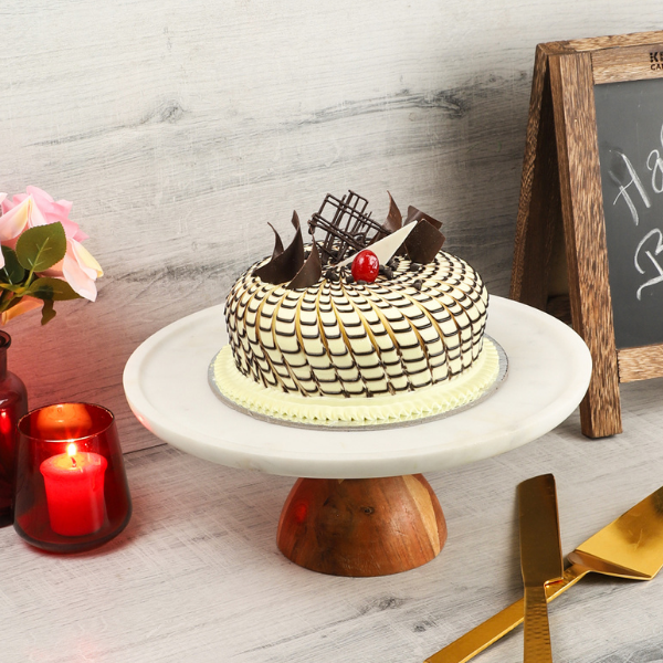 NikkisPride Marble Cake Stand With Wooden Base