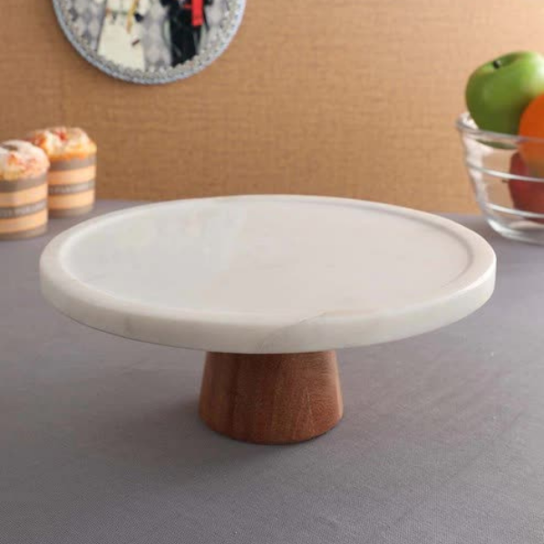 NikkisPride Marble Cake Stand with Wooden Stand