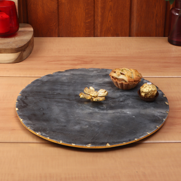 NikkisPride Marble Platter Round With Gold Foil Work  Black  Metal Flower  Embedded