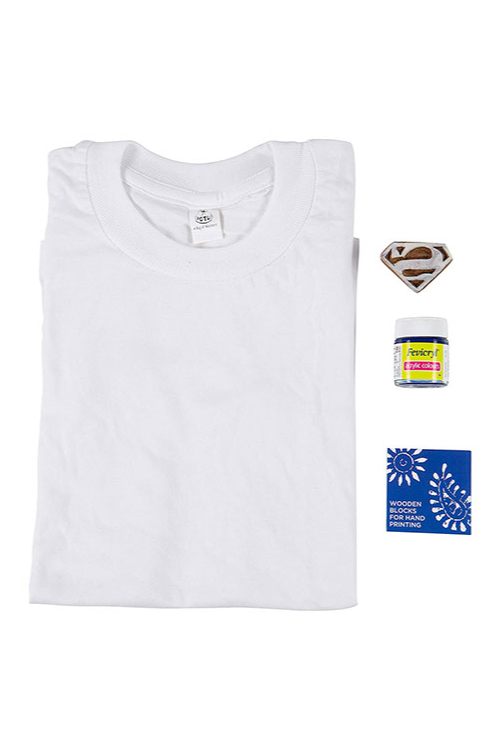 POTLI DIY Craft Kit ( 4 Years - 12 Years) Block Print Your T-Shirt (Superman)