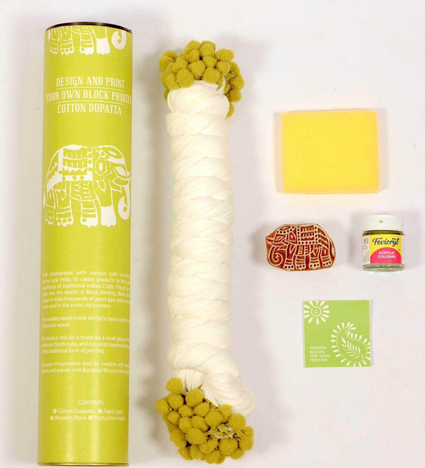 POTLI DIY Craft Kit (for All Ages) Block Print Your Own Dupatta - Elephant Design (Green)