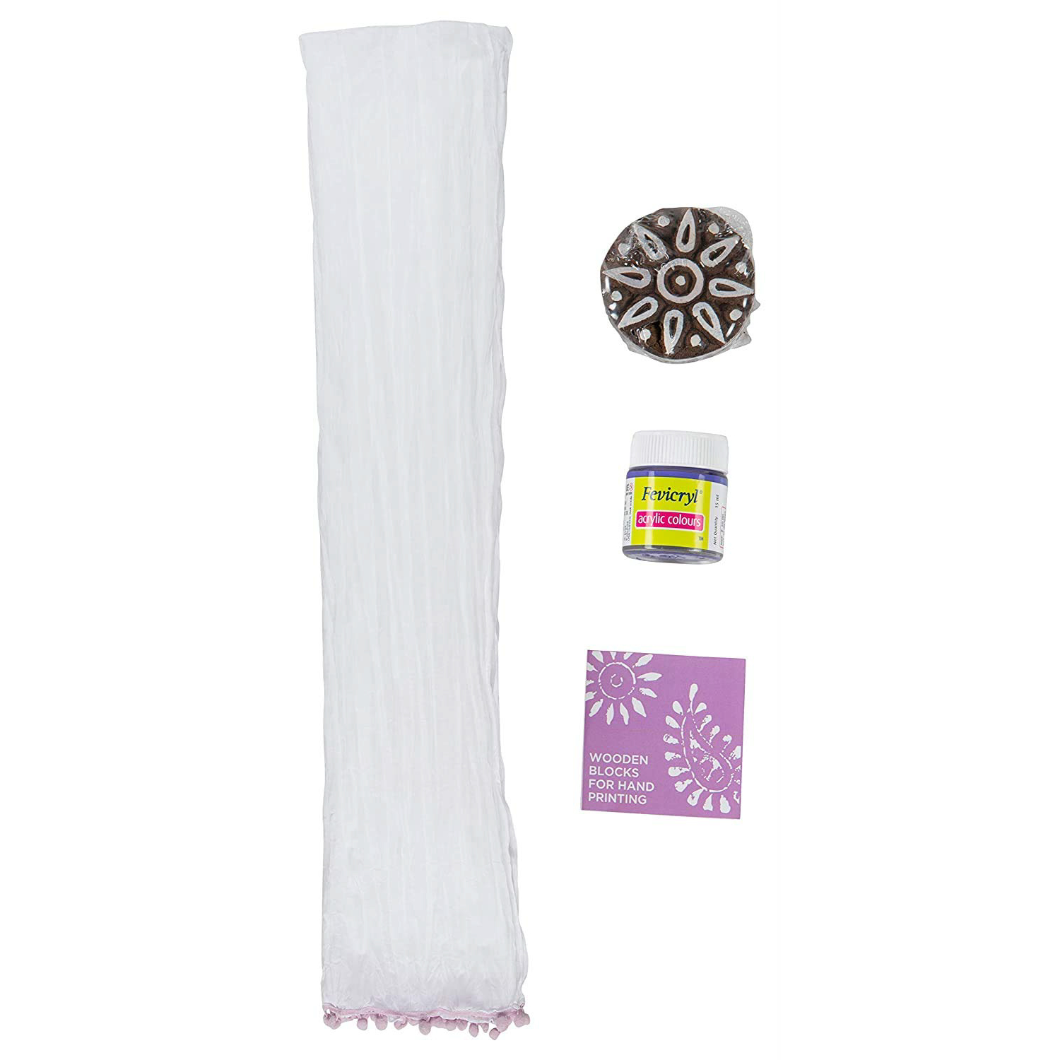 POTLI DIY Craft Kit (forAll Ages) Block Print Your Own Dupatta - Rangoli Block ( Lavender )