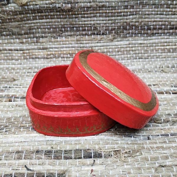 Papier Mache Red Pin Box