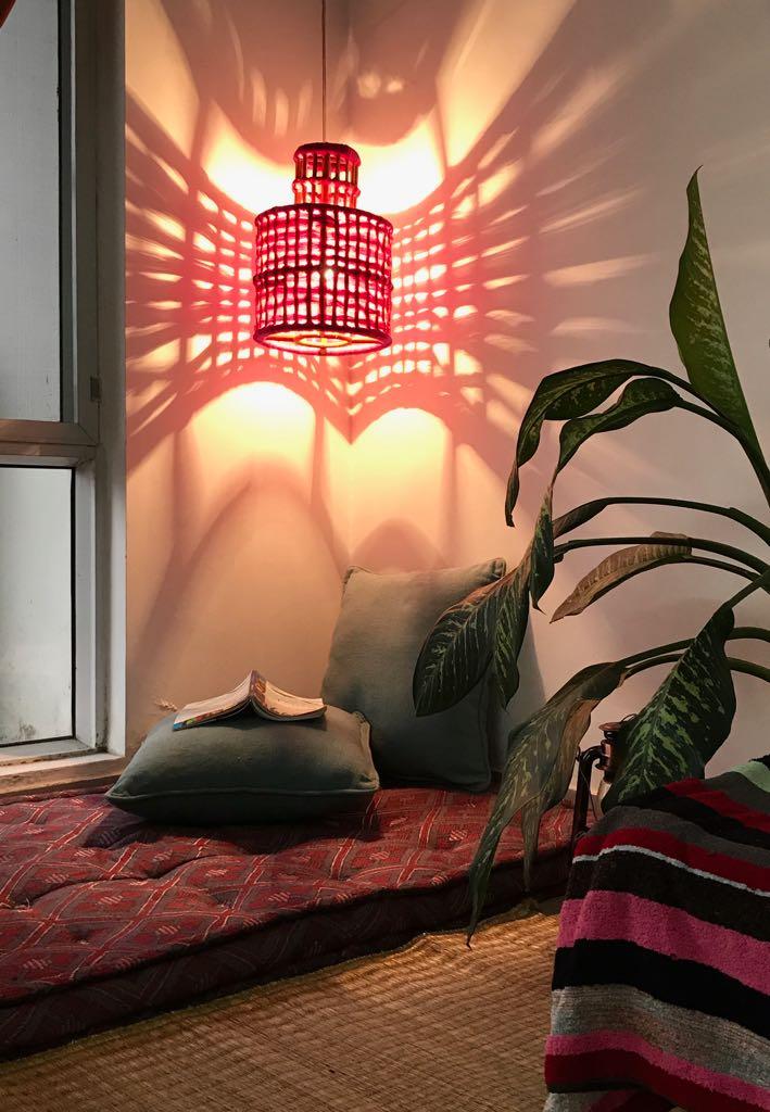 Pink Sisal hanging lamp