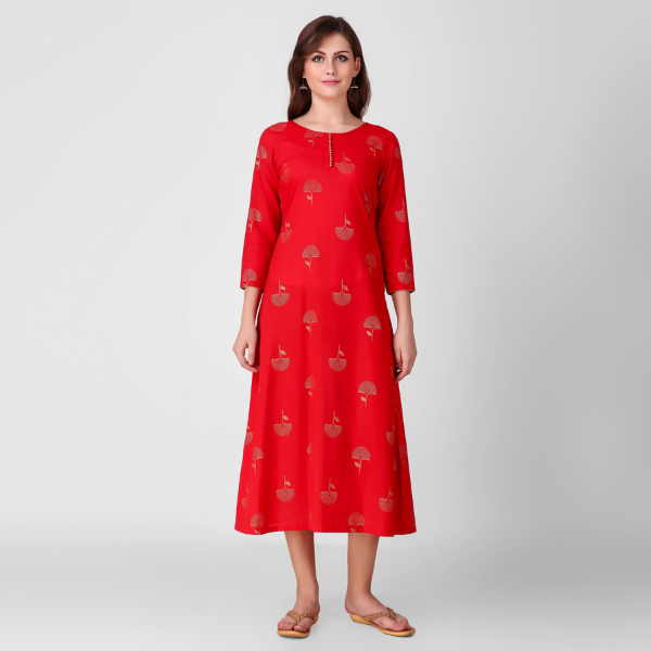 RED GOLD PRINT DRESS
