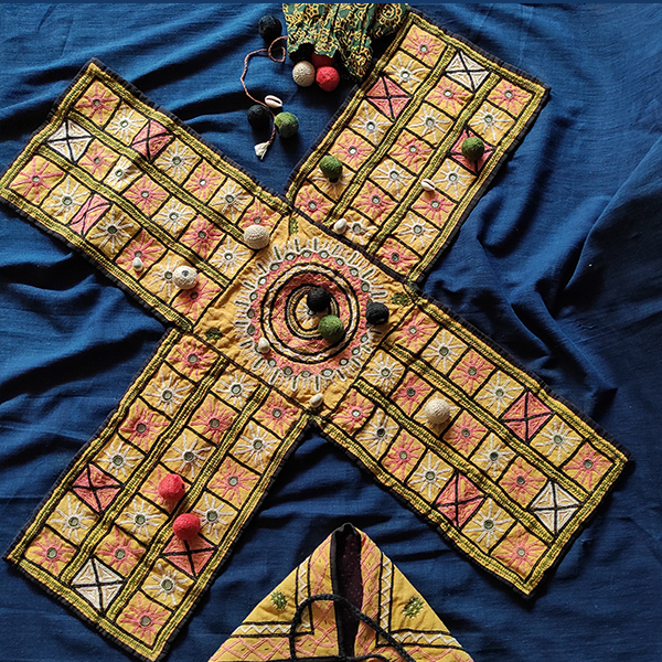 Rabari Hand Embroidered Chaupar Fabric Board Game