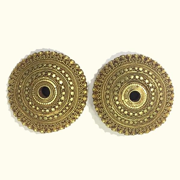 Rare Vintage antique ethnic tribal solid 18K Gold Stud Earplug Earring pair