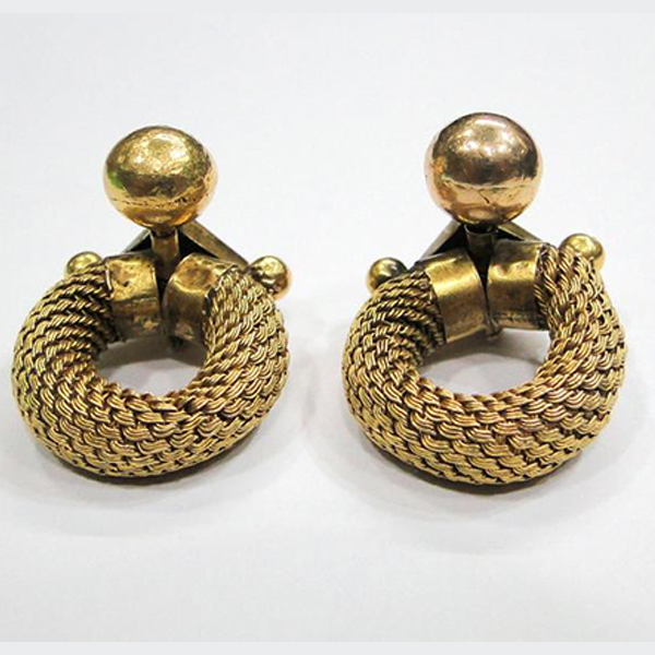 Rare! Vintage antique ethnic tribal 20K Gold Earring earplug pair from South India