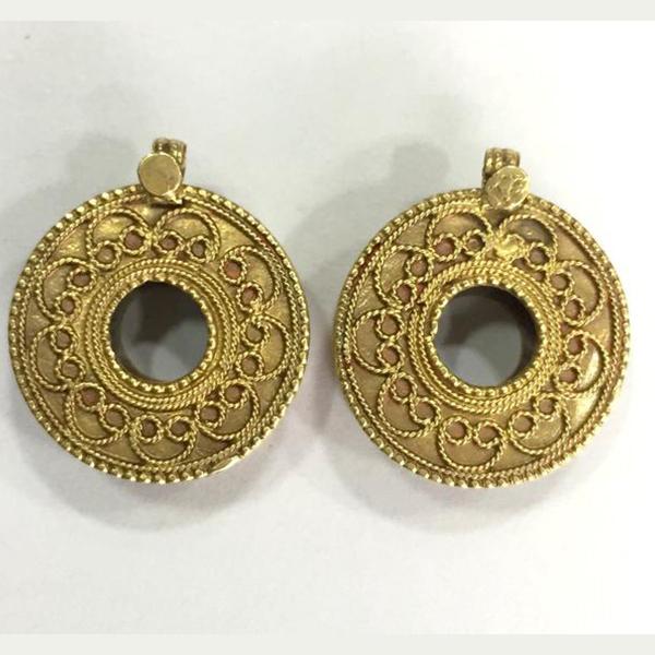 Rare! Vintage antique ethnic tribal solid 18K Gold Stud Earplug Earring pair