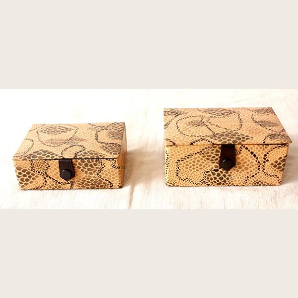 Shanti Leather Jewellery box Animal skin print- Rectangle and square