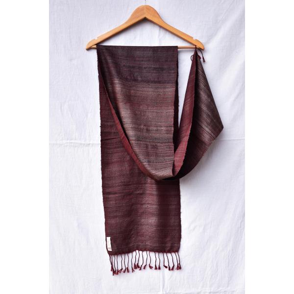 Silk Wool Scarf (Maroon & Grey)