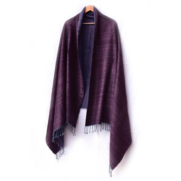 Silk Wool Shawl (Blue & Purple)