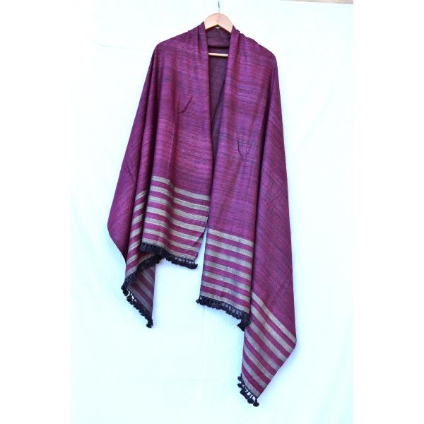 Silk Wool Shawl (Pink & Golden)